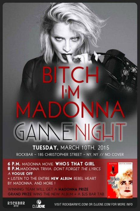madonnalicious: Events: 'Bitch I'm Madonna' Game Night in NYC